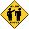 +people+violent+female+warning+sign+ clipart