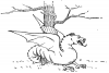+monster+dragon+in+woods+BW+ clipart