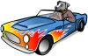 +animal+canine+canid+dog+driving+sports+car+ clipart